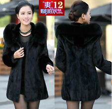winter womens faux Rabbit fur leather thick jacket coat outwear padded trench