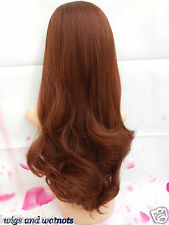 """Ladies 3/4 Wig Fall Clip In Synthetic brown Hair Piece 28"""" Half Wig party/drag"""