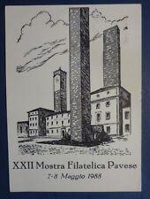 CP. CASTELLI 500 LIRE - SOVRASTAMPA MOSTRA FILATELICA PAVIA - 1988