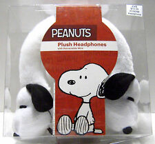 PEANUTS Kids Plush Headphones Snoopy Dog Retractable Wire Volume Limiter NEW
