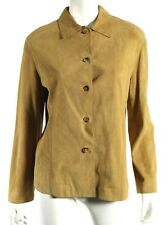 LORO PIANA Tan Perforated Suede Button-Front Leather Blouse 46