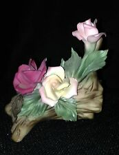 CAPODIMONTE PORCELAIN  ROSES ON BRANCH IN ORIGINAL BOX