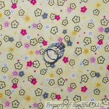 BonEful Fabric FQ Cotton Quilt VTG Yellow White Baby Pink Gray Flower Calico Dot