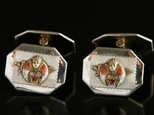 Antique 30s 40s S&C Masonic Freemason Shriner Cufflinks Gold Tone Cuff Links