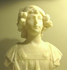 "ANTIQUE FINELY CARVED PORTRAIT BUST OF YOUNG WOMAN ITALIAN MARBLE...13 1/2"" Tall"