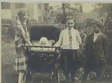 Three Antique Photographs of Oregon Children with Hunting Dog, Baby Carriage