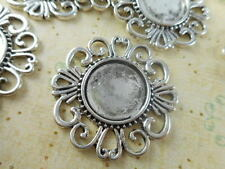 10 Silver Plated Round Pendant Blank Trays Findings 27180