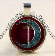 Glass Cabochon CELTIC MOON & SWORD Pendant Necklace with 50 cm chain UK Seller