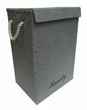 BOX SHAPE GREY/DENIM FOLDING LAUNDRY BASKET WASHING CLOTHES HAMPER LINING NEW