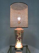 Vintage 80s Revival Brass Glass Table Desk Lamp Pink Lavender Gold Hollywood Reg