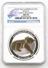 2012-P Australia Dollar 1oz Gilded Silver Koala NGC MS-70 Slabbed Early Releases
