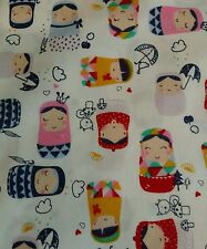 Russian dolls craft national dress fabric 100% cotton poplin  sold by the metre