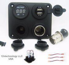 Panel High Power 4.2 A USB Charger + Voltmeter +12V Socket & Lighter Plug + Wire