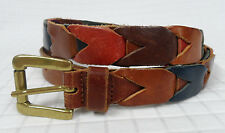 FOSSIL Multi-Color LEATHER Women's BELT Medium LINKED Woven RED Green BLUE Guc