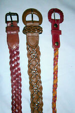 "Three braided leather belts orange-gold-red, red, brown L  31"" - 35"" waist  NWOT"