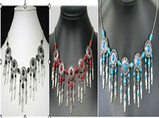 3PCS NEW IN TIBET STYLE TIBETAN SILVER TURQUOISE&CORAL NECKLACE