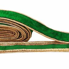 Velvet Green Ribbon Trim Decorative 3.0 Cm Wide Craft Trimming By 1 Yd RT1434A