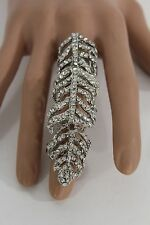 New Women Fashion Statement Huge Long Metal Ring Silver Rhinestones One Size