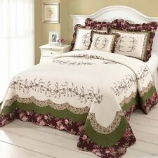 BEAUTIFUL XXL WHITE GREEN PURPLE ROSE FLORAL QUILT BEDSPREAD OVERSIZED KING NEW!