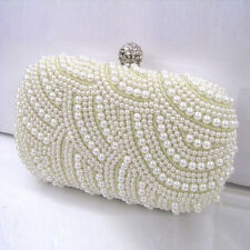 Ivory Handmade Gorgeous Pearl Bag Prom Wedding Evening Clutch Handbag Purse