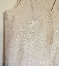 Donna Karen Silk Top Sleeveless Heavily Embroidered Med Vintage NWT Retail $550