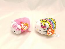 Ty Set Of 2 Leopard Hello Kitty and Pink Teeny Tys Beanie Stackable Plush Toy