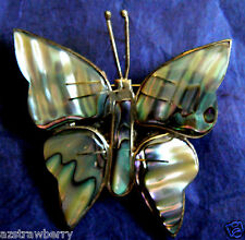 VTG STERLING SILVER 925 MEXICO ABALONE SHELL BUTTERFLY PIN BROOCH