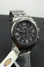 Fossil Men's Stainless Silver Chronograph Watch Gray Dial Luminous Hands BQ1240