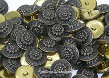 25 Pieces 28mm Antique Gold Women's Floral Suit Jacket Coat Metal Shank Buttons