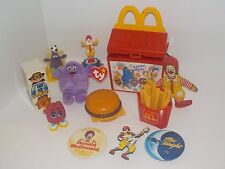 Vintage McDonald's Large Lot Happy Meal Toys Fry Guy Grimace Ronald Plush Pins