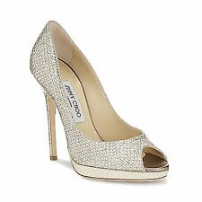Jimmy Choo 'tranquilo' Brillo champán Peep Toe Stiletto Tacones Zapatos EU 37 UK 4
