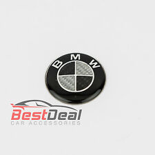CARBON FIBRE BMW 45 mm STEERING WHEEL BADGE BLACK EMBLEM LOGO 1 3 5 SERIES