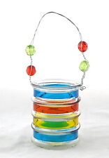 Small Striped Glass Bucket Hanging Tea Light Holder Yankee Candle NEW beaded red