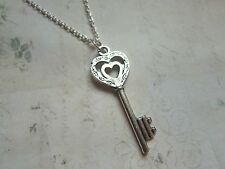 "Vintage Look Silver Plated Heart Key to My Heart 18"" Necklace Brand New 21st"
