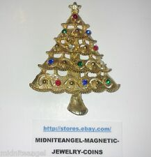 70's VINTAGE GOLD gp CHRISTMAS TREE with MULTI-COLOR CRYSTALS PIN BROOCH