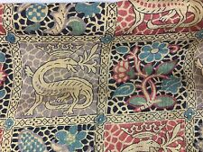 Antique Liberty of London Silk Fabric Mary Queen of Scots Salamander Crown Tudor