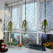 1X Window Kitchen Bathroom Lifting Roll Up Rome Curtain Screen Embroidered HIAU