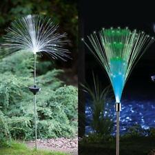2PCS Solar Fiber Optic Garden Decor Stake Color Changing Yard LED Light