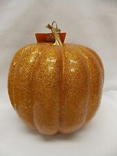 Fall Autumn Orange Sparkly Glitter Pumpkin Decoration 7.5 x 8 In New with tag