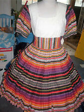 SQUARE DANCE MULTICOLOR PUFF SLEEVE MIDRIFF  DRESS SZ--S