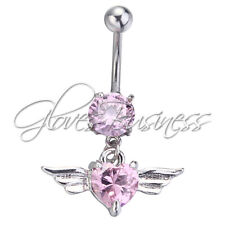 1PC Pink Angel Wings 14g Belly Button Navel Ring Dangle Body Jewelry Piercing