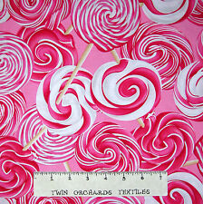 Food Fabric - Hugs & Kisses Pink Lollipop Toss - Benartex Kanvas 25""