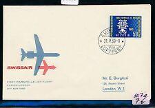 74870) Schweiz SR FF Zürich - London 21.5.60, sp cover