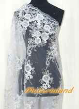By meter Silver Flower Embroided Sequinned Lace Net Crafts Fabric #FA02G