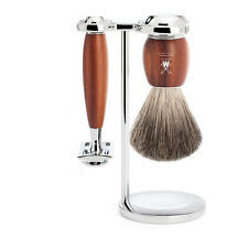 Muhle VIVO Plum Wood 3 Piece Safety Razor & Pure Badger Hair Shaving Brush Set