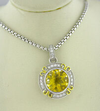 14K Yellow Gold Diamond Pendant and Sterling Silver Citrine Gem