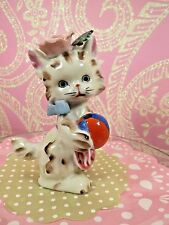 Vtg Lefton Tabby Kitty Cat W Pink Bonnet & Apron Holds Red & Blue Ball ~ Toy