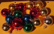 15 Vintage Christmas Holiday Ornaments Glass? Balls Red Gold Silver Green Blue