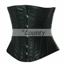 Underbust Corset Black Real Leather Full Steel Boned Spiral Basque Lacing Shaper