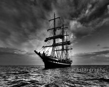 Old WOODEN MAST PIRATE SHIP - 8x10 Photo SAIL NAUTICAL OCEAN SEA BOAT PICTURE BW